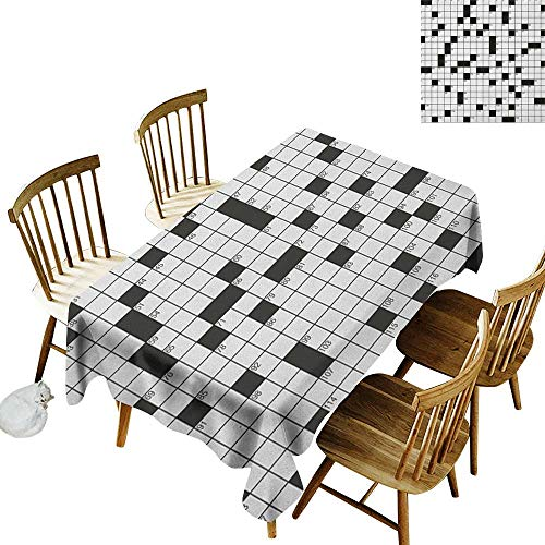 French Tablecloth W50 x L80 Word Search Puzzle Classical Crossword Puzzle with Black and White Boxes and Numbers Black and White Great for Family Outdoors Restaurant Party Wedding Coffee Bar traveli ()