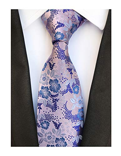 Mens Silk Pink Blue Tie Summer Cool Gentleman Party Jacquard Self Cravat Necktie - Black Collection Tie White Flowers