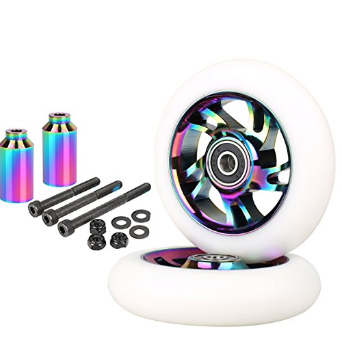 Kutrick Neo Chrome Complete 110mm 2pcs Pro Scooter Wheels with Complete 2pcs Neo Pro Stunt Scooter Pegs Kit by Kutrick