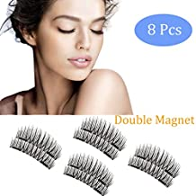 Magnetic Eyelashes, 2 Pair ( 8pcs) with Double Magnet by Upperlife, No Glue Needed Premium Quality 3D False Eyelashes Set for Natural Look, Perfect Gift for your Loved Ones, Make Deep Eyes & Round Eyes - 8 pcs