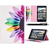 All-New Amazon Fire HD 8 Case (6th Generation, 2016 Release), iYCK Leather Stand Flip Folio [Card Holder] Protective Shell Wallet Case Cover for Fire HD 8 Tablet (2016 6th Gen) - Colorful Flower