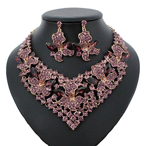 Lily Amethyst Austrian Crystal Rhinestone Necklace Earrings Set Prom Bridal N917p