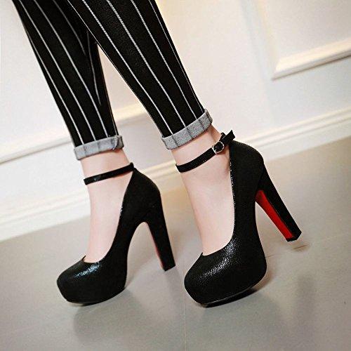 Latasa Mujeres Fashion Platform Tacón Alto Correa De Tobillo Vestido Bombas Zapatos Negro
