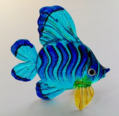 Handmade Animal Figurine Art Glass Blown Beautyfull Blue Fish Figurine Collection Best Gift -