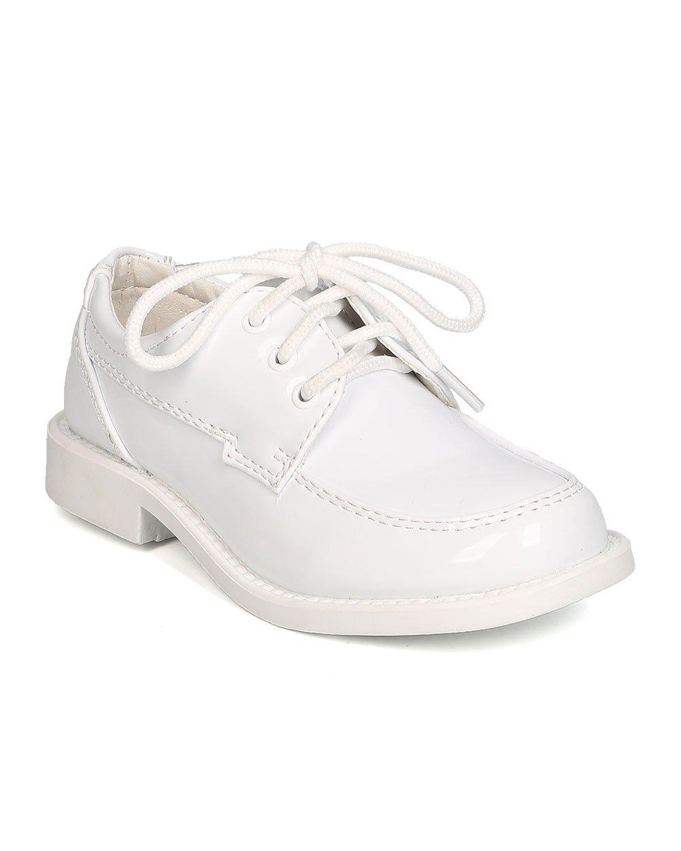 Auston Boys Patent Leatherette Lace Up Dress Shoe GB31 - White (Size: Little Kid 11)