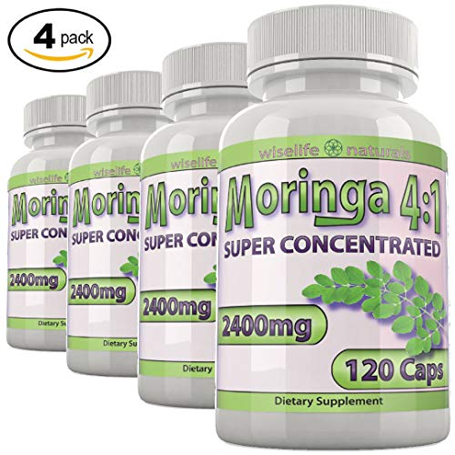 Moringa Powdered Greens Capsules 4X Nutrients Leaf Moringa Capsules – Superfood Vegan B Supplement Immune System Supplements – Anti Fatigue Boost Powder Pre Workout for Women Weight Loss Bulk 4 Pack
