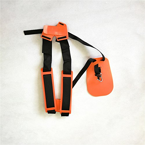 shiosheng Safety Orange Professional Double Shoulder Strap String Trimmer Brush Cutter Harness Belt Carry Hook Garden