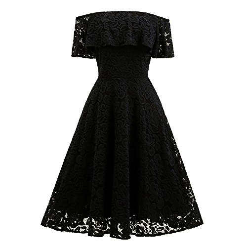 Women Mini Lace Chiffon Dress,Sunyastor Off Shoulder Sexy Prom Evening Party Cocktail Dress Formal Bridesmai Gown Swing Dress