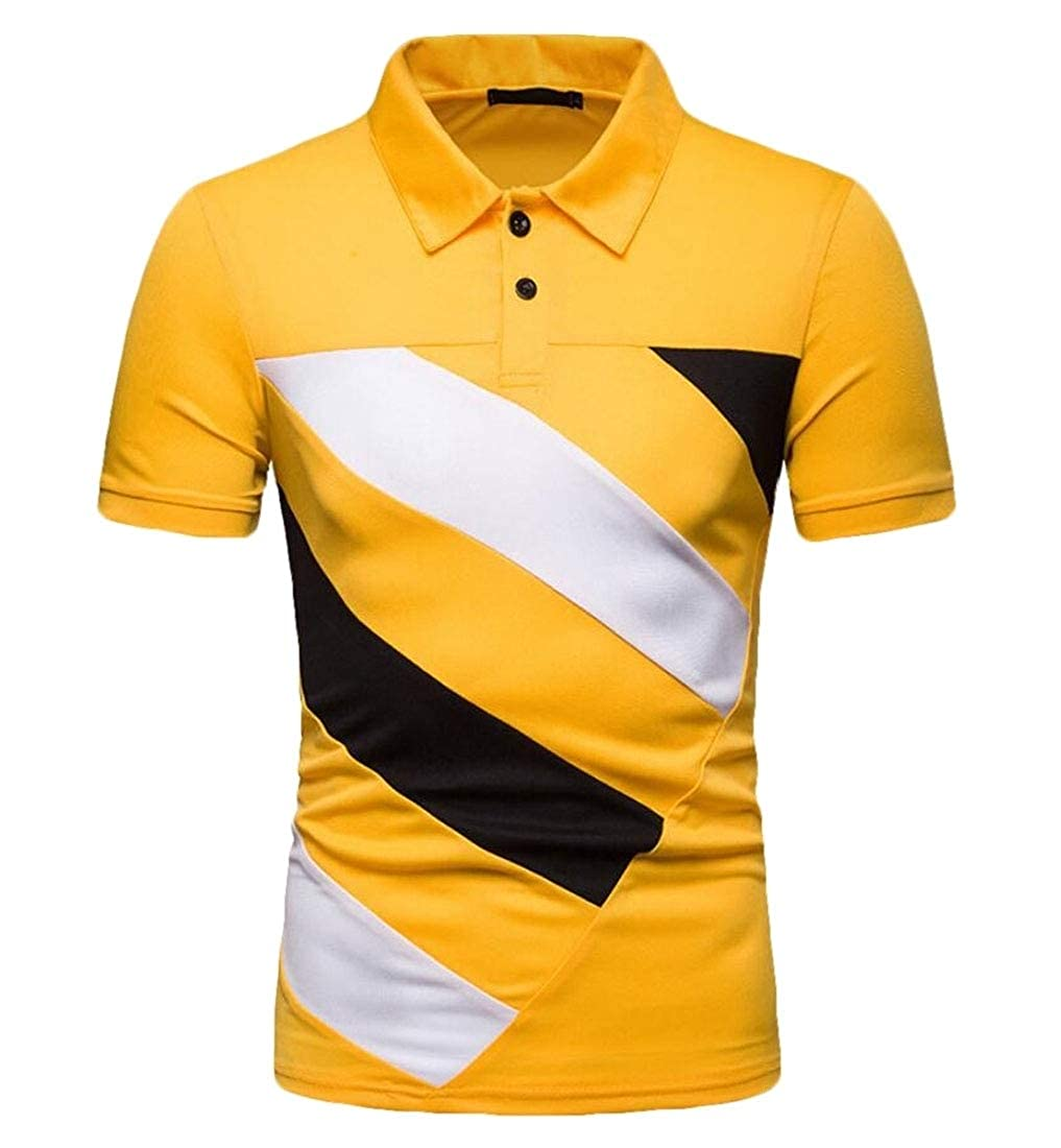 Alion Mens Hipster Color Stitching Pique Short Sleeve Slim Lapel Polo Shirt