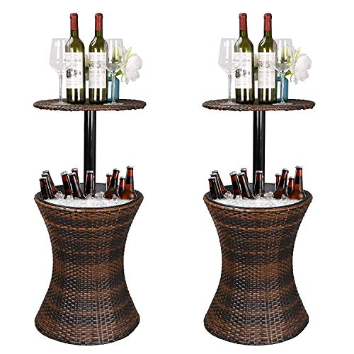 ZENSTYLE Height Adjustable Cool Bar Rattan Style Outdoor Patio Table Designed Cooler All-Weather Wicker Bar Table with Ice Bucket for Party, Pool, Deck, Backyard (Brown, Pack of 2) (Rattan Style)