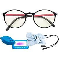 Blue Light Glasses for Kids Fashion Glasses Computer for Anti Eyestrain Anti Glare Lens Frame Eyeglasses with Strap Teen Girls Eyewear Boys Children Age 3-12 (126mm, Black - Rose red)