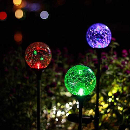 Moonsofter Solar Garden Lights Outdoor, 4 Pack Solar Globe Light Stakes, Color-Changing LED Garden Light Landscape Decorative Pathway Lighting, Auto On/Off Dusk to Dawn, Solar Powered Path Light