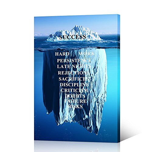 VVOVV Wall Decor - Inspirational Quotes Wall Art Success Quote on Iceberg Background Canvas Artwork Motivational Posters for Classroom Office Decor Giclee Prints Framed Ready To Hang 16x24inch