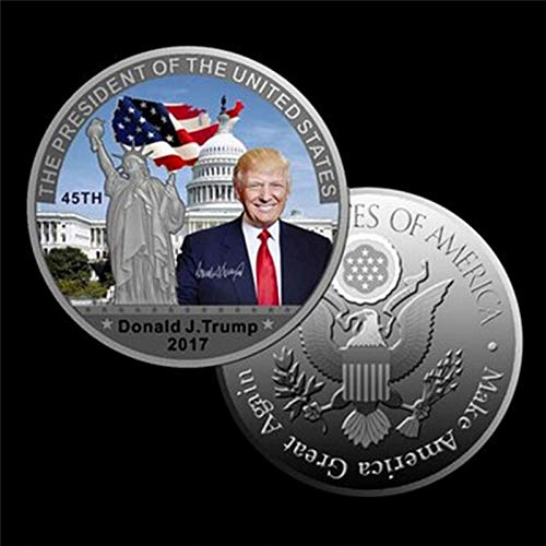 (President Of The United States - 1pcs Silver Coin American 45th President Donald Trump Us White House The Statue Of Liberty Metal - Plate Jigsaw Digital Kids Gifts Canvas Figure)
