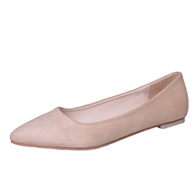 3ee2505c51025 Escarpin velours femme basses petit talon plat mocassin loafers bout pointu  stiletto simple ballerine antidérapant beige