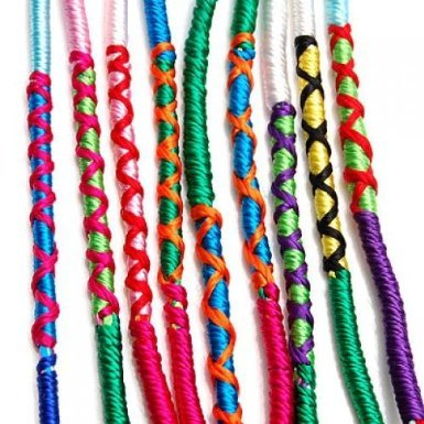 9 X Unisex Mixed Colour Thread Braided Friendship Bracelets For