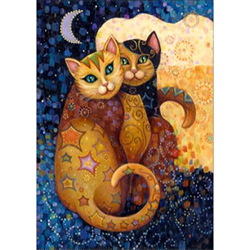 Small Rhinestone Kit - DIY 5D Diamond Painting by Number Kits, Full Drill Crystal Rhinestone Embroidery Pictures Arts Craft for Home Wall Decor Gift,Hugged Cats