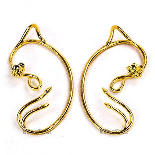 Beauty and the Beast Belle Ear Cuffs - Emma Watson Gold Rose Earrings For Womens (Beast Boy Costume Ideas)