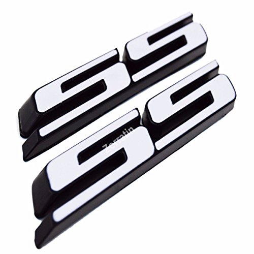(Set of 2) Slant SS Grill Side Fender Trunk Emblem Badge Decal with Sticker for Chevy IMPALA COBALT Camaro 2010 2011 2012 2013 2014 2015 2016 2017 [white letter with black outline] - White Chevy Impala