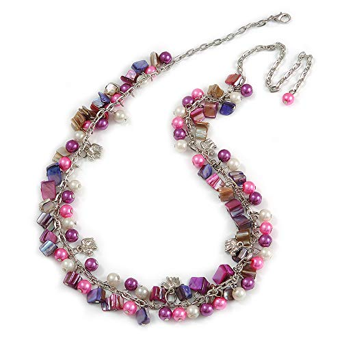 (Avalaya Statement Glass, Nugget Silver Tone Chain Necklace in (Pink, Purple, Cream) - 60cm L/ 8cm Ext)