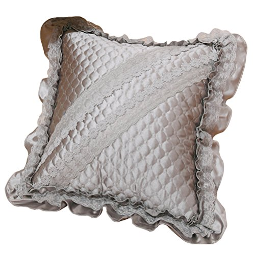 LivebyCare Floral Lace Ruffles Sofa Pillow PP Cotton Insert 18x18 Inch Rayon Chair Waist Cushion Zipper for Decorative Home Bed Sofa Bolster Lumbar Pillow Gray