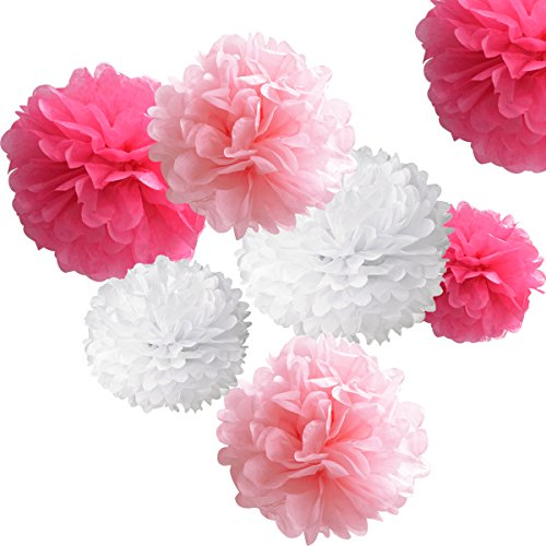 18pcs Tissue Hanging Paper Pom-poms, Hmxpls Flower Ball Wedding Party Outdoor Decoration Premium Tissue Paper Pom Pom Flowers Craft Kit (Pink& White)