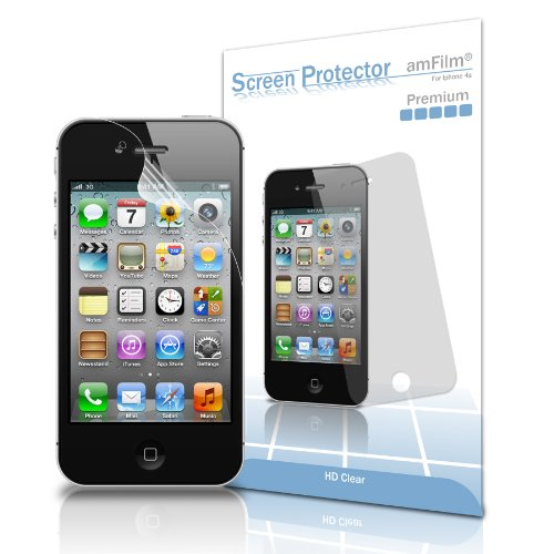 amFilm Premium Screen Protector Film for iPhone 4S -  Clear (Invisible)