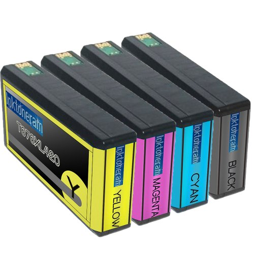 4 New Remanufactured Epson 676XL Ink Cartridges Epson 676XL T676XL120 T676XL220 T676XL320 T676XL420 for Epson 676XL Black Cyan Magenta Yellow Combo Pack Set, Office Central