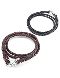 Konov Jewelry Leather Stainless Steel Mens Womens Bracelet, 2pcs Simple Braided Wrap Bangle, Brown Black, with Gift Bag, C25285