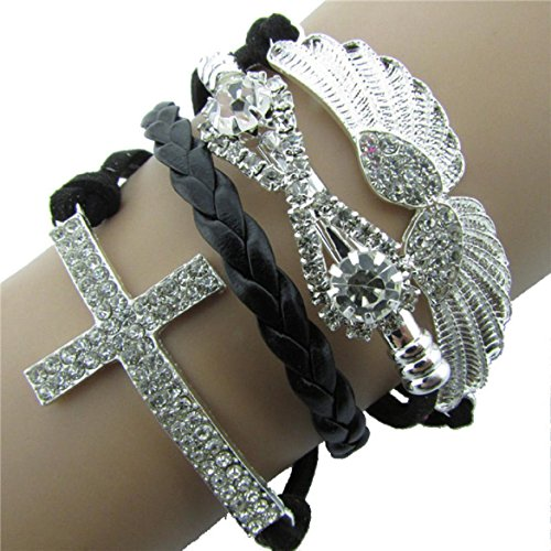 Leather Angel Wings (Susenstone 1PC Leather Cross Angel's Wing Rhinestone Charm Bracelet (Black))