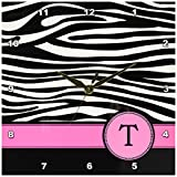 3dRose dpp_154291_1 Letter T Monogrammed Black and White Zebra Stripes Animal Print with Hot Pink Personalized Initial Wall Clock, 10 by 10-Inch