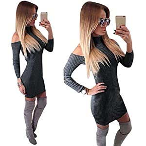Gillberry Women Winter Off Shoulder Long Sleeve Sweater Jumper Knit Dress (L, Dark Gray)