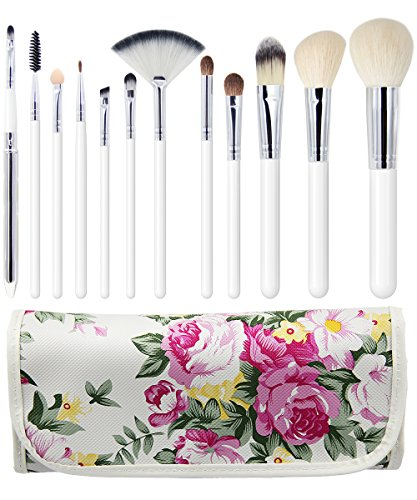 EmaxDesign 12 Piece Professional Makeup Brush Set Goat Hair