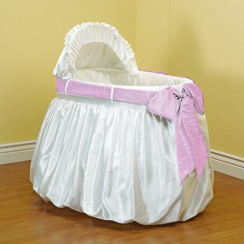 Bows Bassinet - Baby Doll Bedding  Shantung Bubble and Crushed Belt Bassinet Bedding, Pink