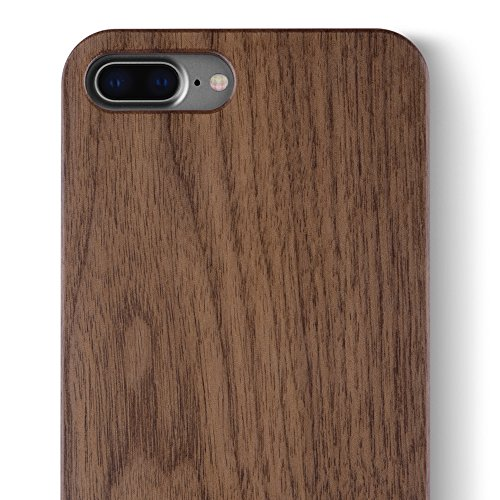 Walnut Wood Case - iPhone 8 Plus/iPhone 7 Plus WOOD Case - iCASEIT Slimfit Lightweight Unique Grain Hybrid Snap-On Protective Shockproof Drop proof Bumper Protection Real WOODEN Cover Phone 7/8 Plus - FB0311 - Walnut