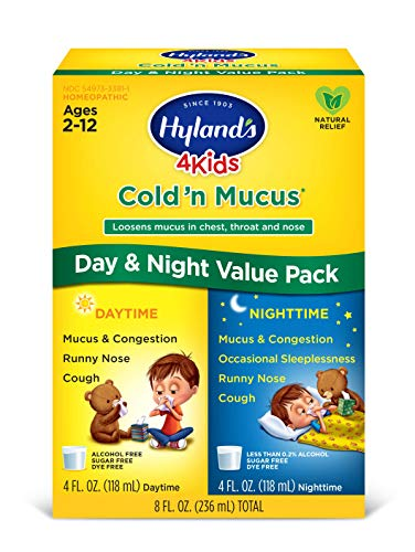 Kids Cold and Mucus Day and Night Value Pack by Hyland's 4Kids, Natural Common Cold Symptom Relief, 8 Fl Oz (Packaging May Vary)