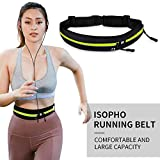 ISOPHO Running Belt, Waterproof Runners Waist Pack with Headphone Port, Outdoor Dual Pouch Sweatproof Reflective Pocket, Fitness Workout Travel Yoga Compatible for iPhone 11/XS Max/XR/8
