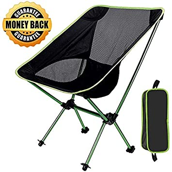 GRyiyi Folding Portable Camping Chair, Sports Outdoor Chair Ultralight Backpacking Chair Compact Heavy Duty 300lb Capacity for Hiking Fishing Festival BBQ Picnic Beach Camp with TerraGrip Feet
