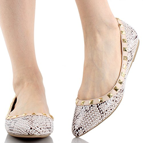 Wilde Diva Dames Bezaaid Accent Puntschoen Ballet Flats Beige Snake 36