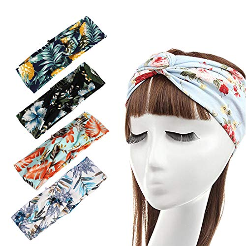 DRESHOW 4 Pack Cloth Headbands for Women Workout Cute Knotted Criss Cross Hairbands Vintage Printed Stretchy Hair Accessories (4 Pack Printed Bohemia)