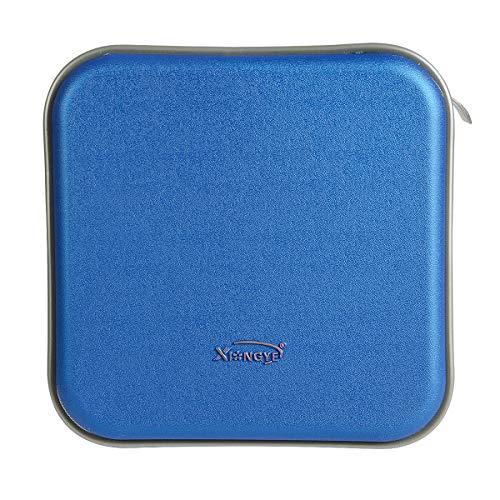 Saim 40 Disc CD Case Portable DVD CD Wallet Case Holder Storage Organizer Album Protection Box CD Bag with Hard Shell Safety for Car Home Travel, Blue