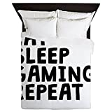 CafePress - Eat Sleep Gaming Repeat - Queen Duvet Cover, Printed Comforter Cover, Unique Bedding, Microfiber