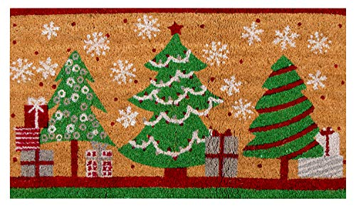 Natural Coir Door Mat - Merry Christmas Indoor Outdoor Welcome Doormat, Easy Clean, PVC Anti-Slip Backing Front Entry Mats, Holiday Tree, Gifts, Snowflakes Design, Brown, 17.2 x 30 x 0.5 Inches