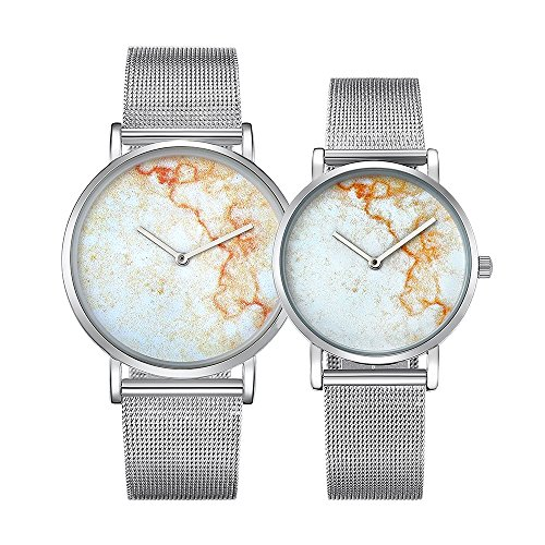 Dig dog bone 6812 Round Dial Alloy Silver Case Fashion Couple Watch Men & Women Lover Quartz Watches With Stainless Steel Band (SKU : Wa0724a) by Dig dog bone (Image #1)
