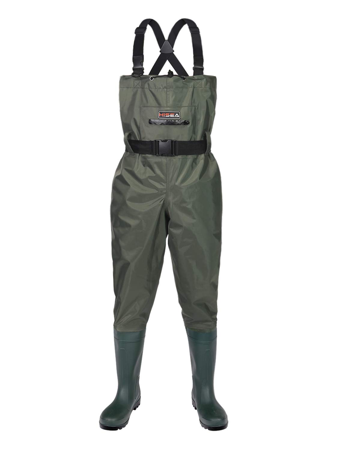 Hisea Upgrade Chest Waders Fishing Waders for Men with Steel Toe Boots Waterproof Lightweight Bootfoot Cleated 2-Ply Nylon PVC
