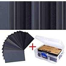102 Pieces Sandpaper Assorted Wet/Dry, 60 to 3000 Grit Sandpaper Assortment, 3 x 5.5 Inch Abrasive Paper Sheet with Free Box, for Automotive Sanding, Wood Furniture Finishing