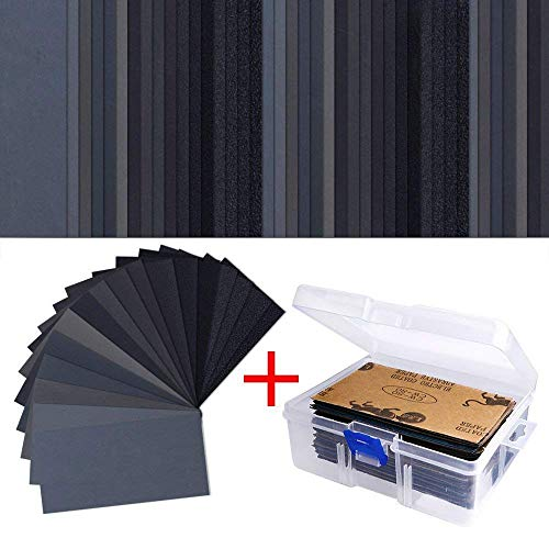AUSTOR 102 Pcs Wet Dry Sandpaper 60 to 3000 Grit Assortment 3 x 5.5 Inch Abrasive Paper with Free Box for Automotive Sanding, Wood Furniture Finishing (Garnet Paper)