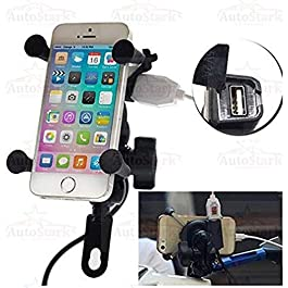 AutoStark Motorcycle Phone Mount, Universal Bike Cell Phone Spider Bike Multifunctional Mobile Holder X Grip Handlebar Mirror Accessories with USB Charger for iPhone, Samsung, GPS Device