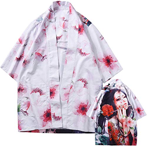 (Women Cover Up for Swimsuit Peony Portrait Sauna Suit Water Park Tunic Casual Kaftan Unisex(L,Dragon))