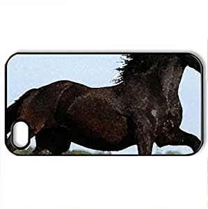 Beautiful Horse - Case Cover for iPhone 4 and 4s (Horses Series, Watercolor style, Black)